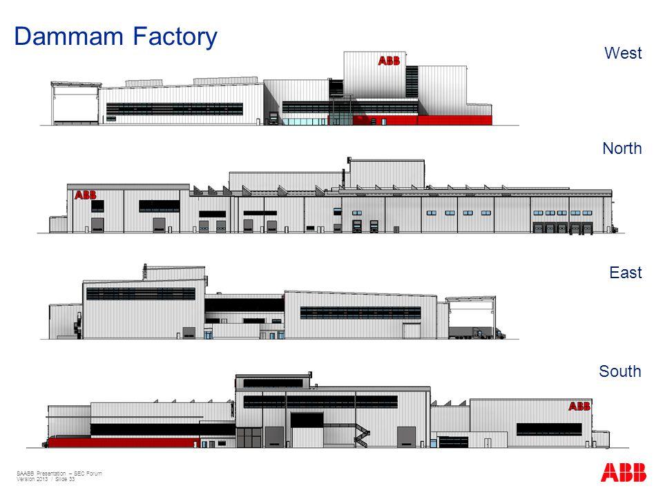 Dammam Factory West North East South SAABB Presentation – SEC Forum Version 2013 / Slide 33