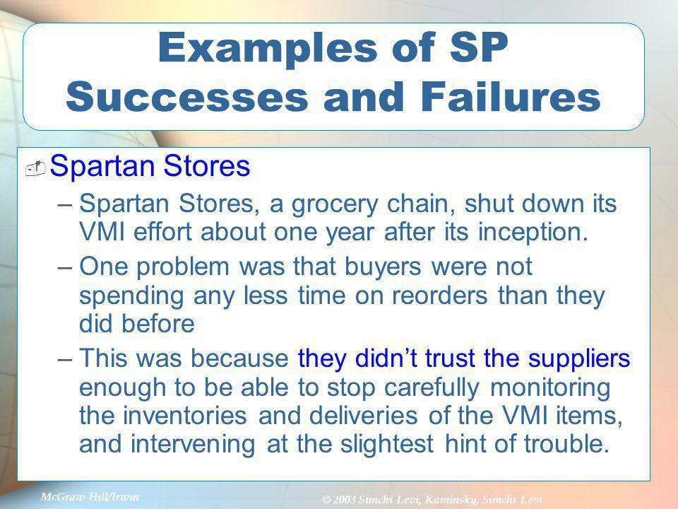 McGraw-Hill/Irwin © 2003 Simchi-Levi, Kaminsky, Simchi-Levi Examples of SP Successes and Failures Spartan Stores (continued) –Suppliers didnt do much to allay these fears.