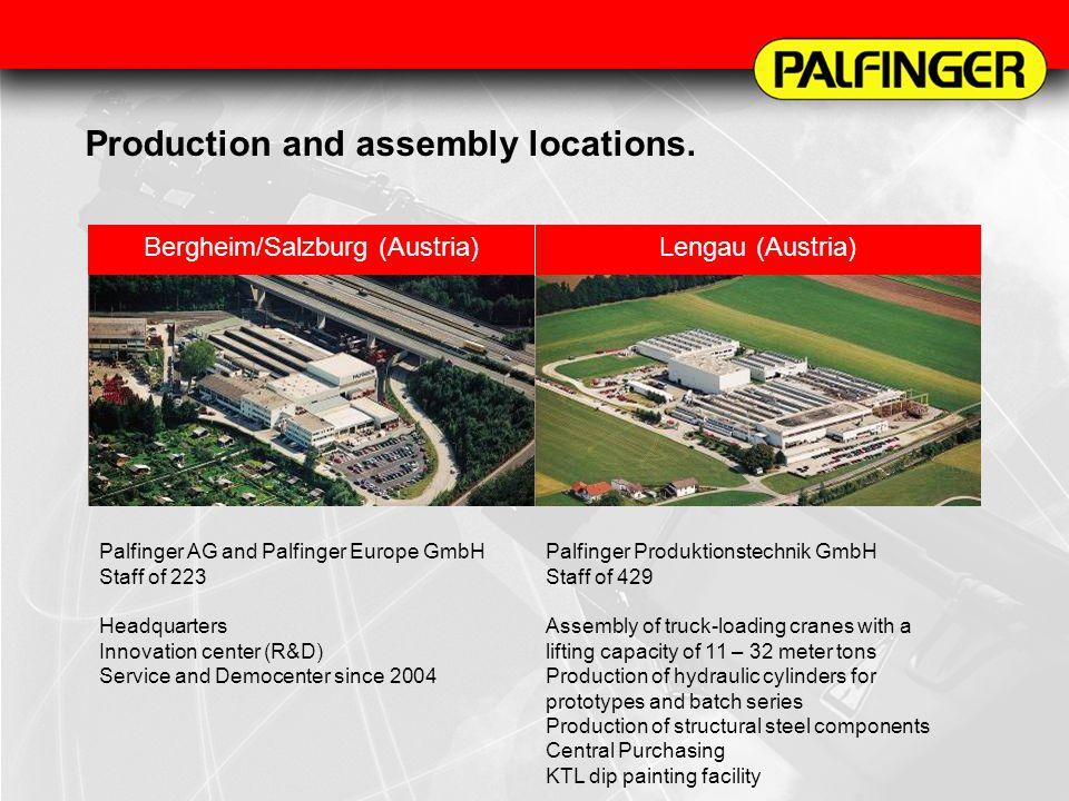 Production and assembly locations. Bergheim/Salzburg (Austria)Lengau (Austria) Palfinger AG and Palfinger Europe GmbH Staff of 223 Headquarters Innova