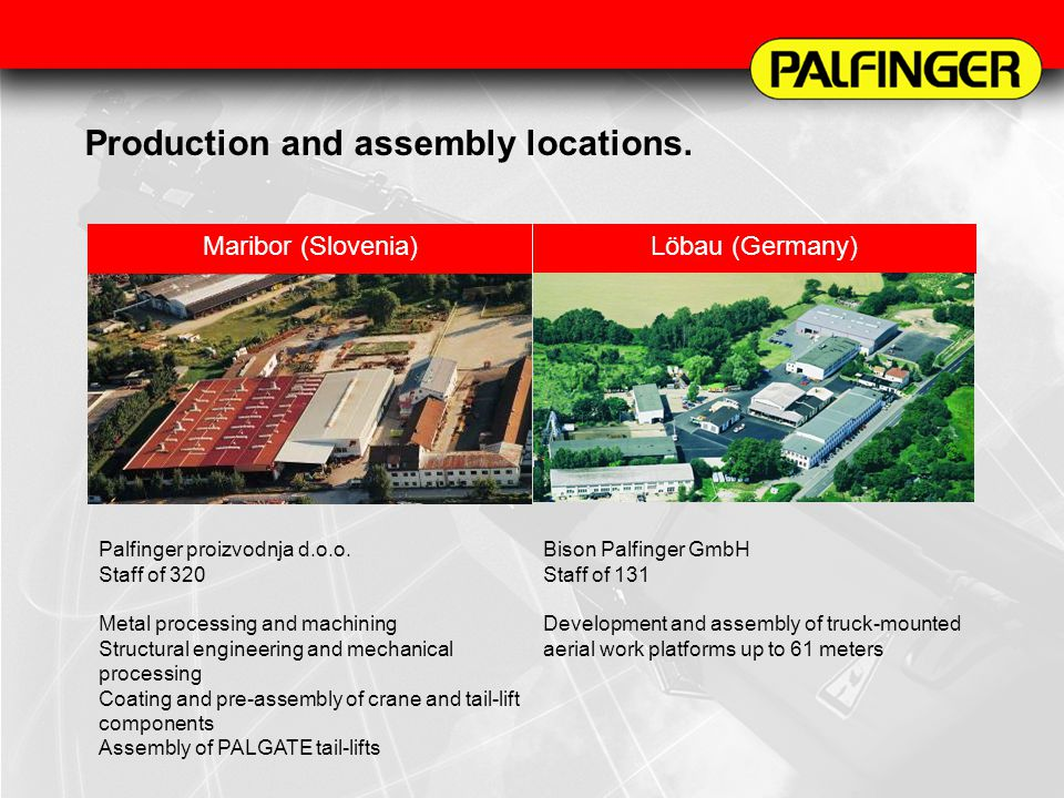 Production and assembly locations. Maribor (Slovenia)Löbau (Germany) Palfinger proizvodnja d.o.o. Staff of 320 Metal processing and machining Structur