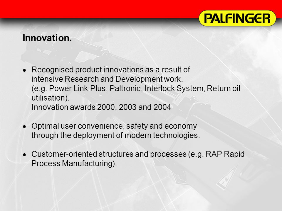 Services.Central Parts Supply. Palfinger-components with long product life.