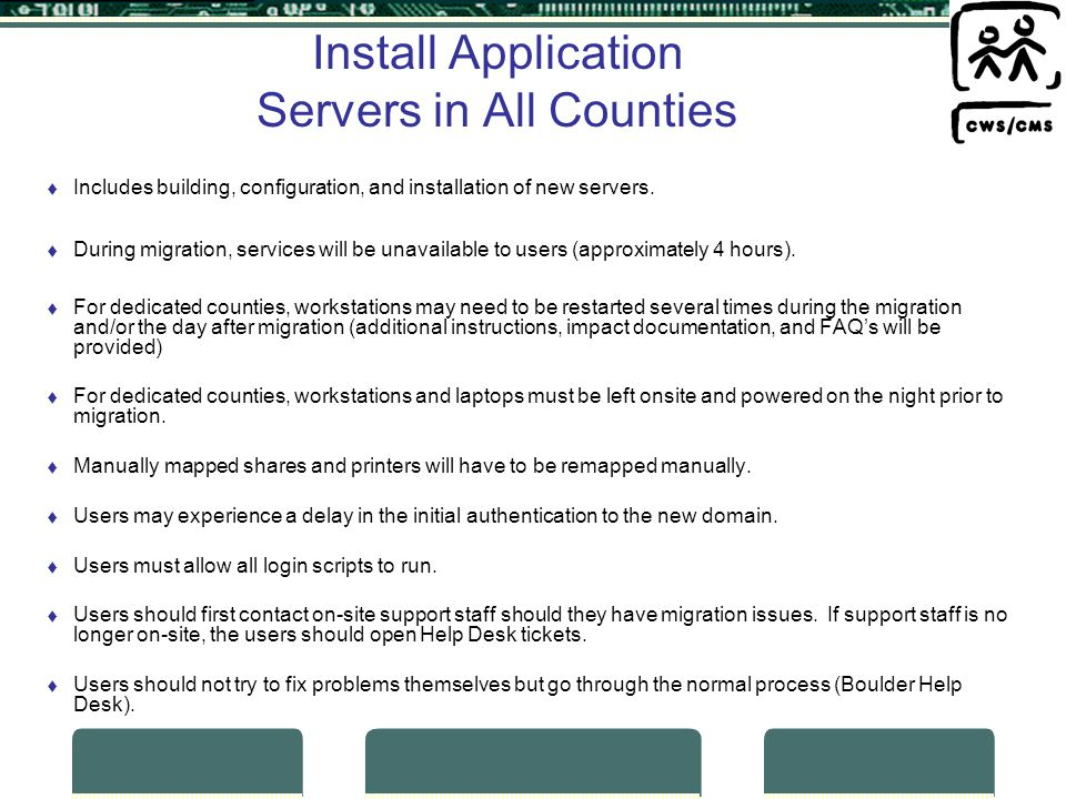 Install Application Servers in All Counties Includes building, configuration, and installation of new servers.