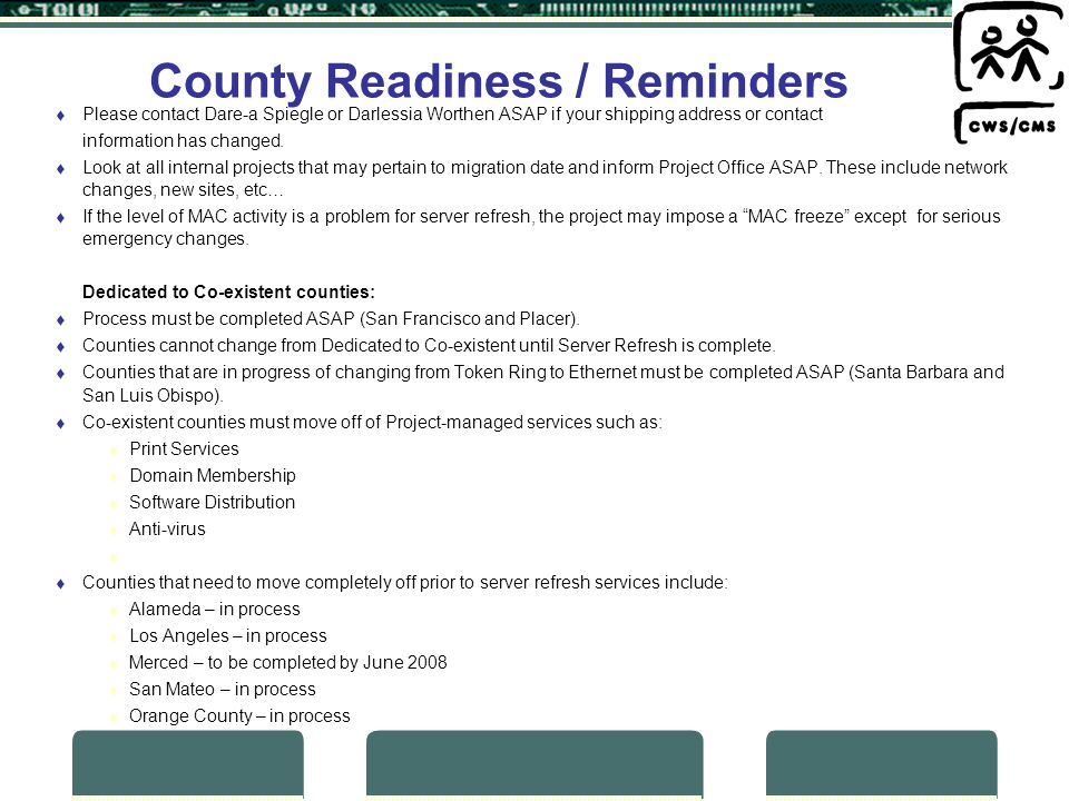 County Readiness / Reminders Please contact Dare-a Spiegle or Darlessia Worthen ASAP if your shipping address or contact information has changed.
