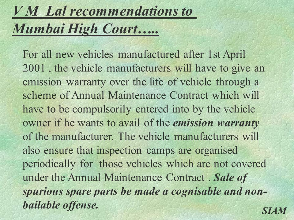 V M Lal recommendations to Mumbai High Court…..