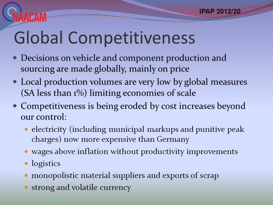 Global Competitiveness Decisions on vehicle and component production and sourcing are made globally, mainly on price Local production volumes are very