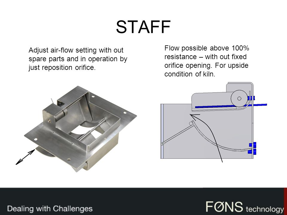 STAFF Adjust air-flow setting with out spare parts and in operation by just reposition orifice. Flow possible above 100% resistance – with out fixed o