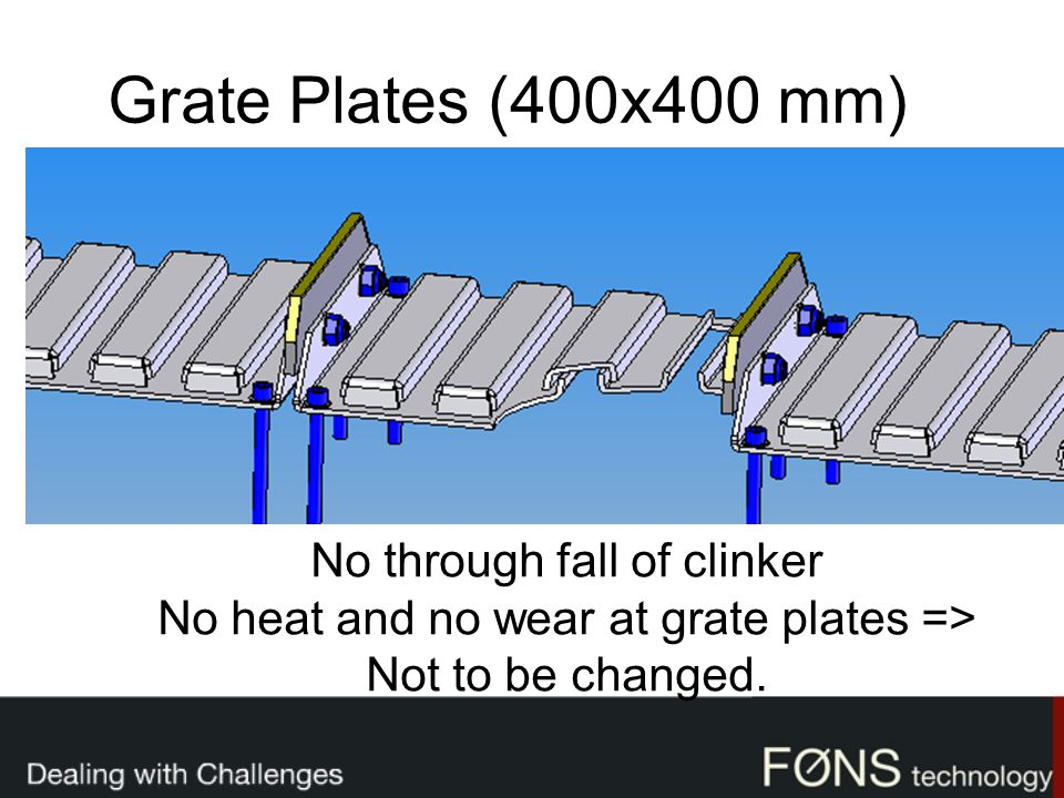 Grate Plates (400x400 mm) No through fall of clinker No heat and no wear at grate plates => Not to be changed.