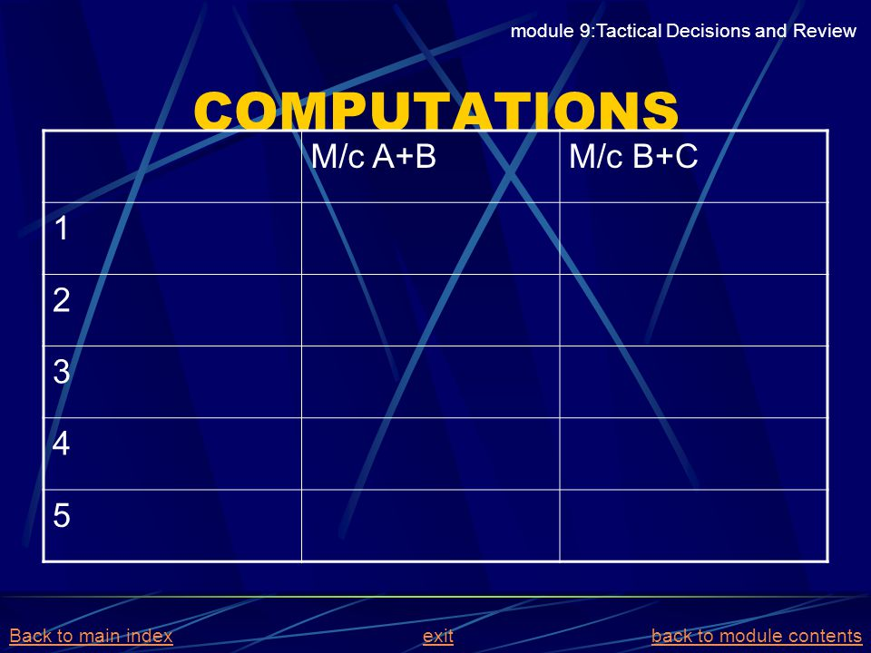 COMPUTATIONS M/c A+BM/c B+C 1 2 3 4 5 module 9:Tactical Decisions and Review Back to main indexBack to main index exit back to module contentsexitback
