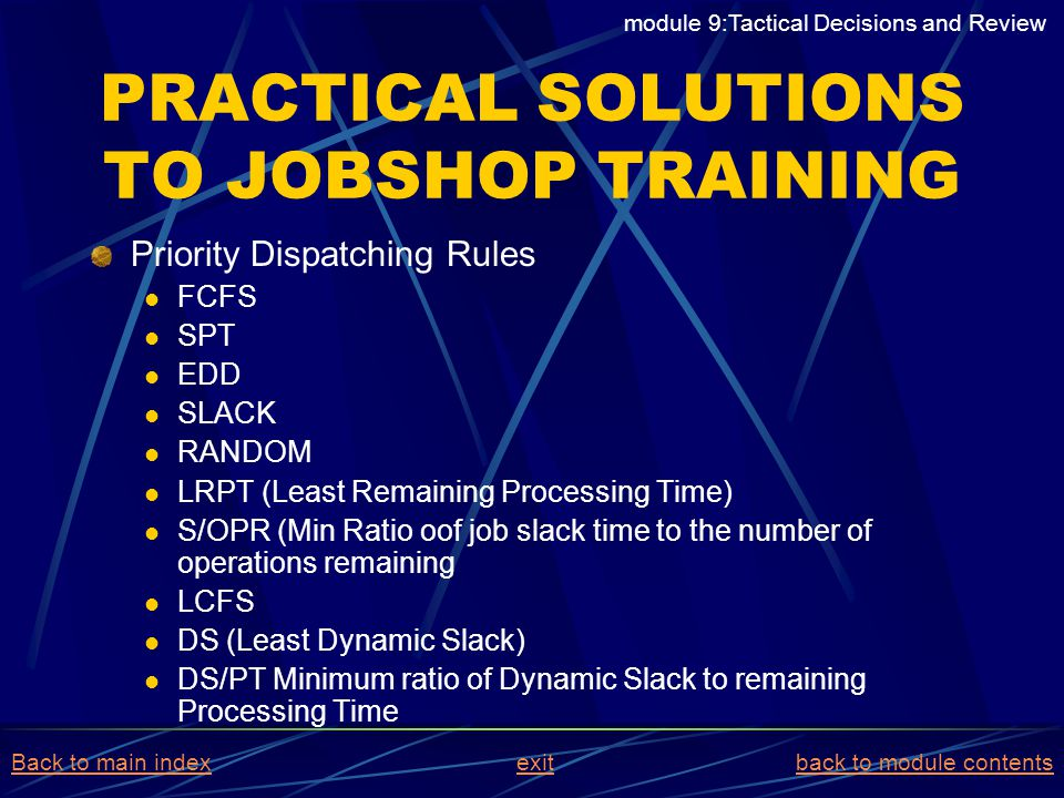 PRACTICAL SOLUTIONS TO JOBSHOP TRAINING Priority Dispatching Rules FCFS SPT EDD SLACK RANDOM LRPT (Least Remaining Processing Time) S/OPR (Min Ratio o