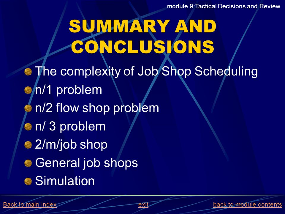SUMMARY AND CONCLUSIONS The complexity of Job Shop Scheduling n/1 problem n/2 flow shop problem n/ 3 problem 2/m/job shop General job shops Simulation