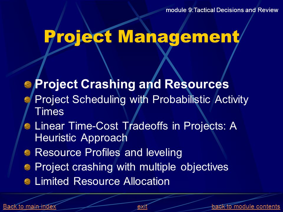 Project Management Project Crashing and Resources Project Scheduling with Probabilistic Activity Times Linear Time-Cost Tradeoffs in Projects: A Heuri