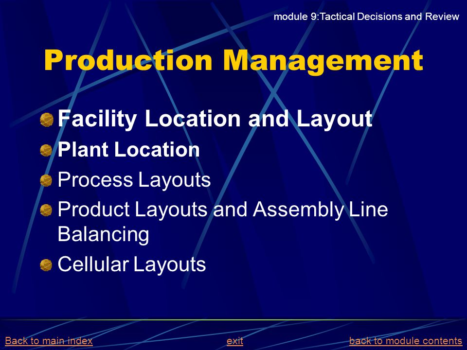 Production Management Facility Location and Layout Plant Location Process Layouts Product Layouts and Assembly Line Balancing Cellular Layouts module