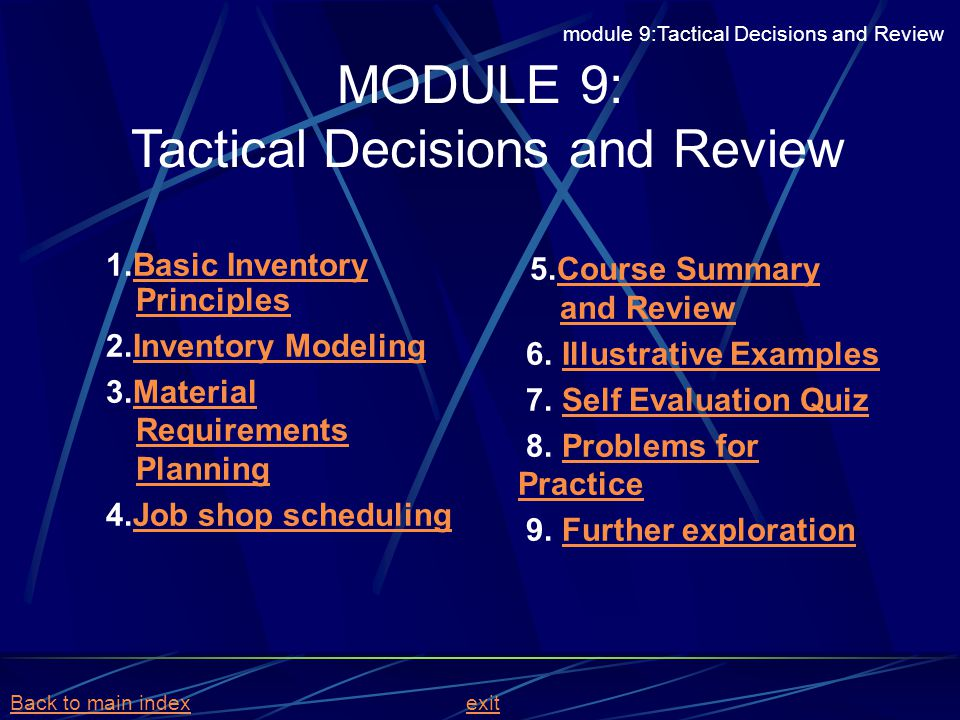 MODULE 9: Tactical Decisions and Review 1.Basic Inventory PrinciplesBasic Inventory Principles 2.Inventory ModelingInventory Modeling 3.Material Requi