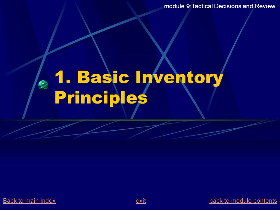 POLICY IMPLICATIONS OF SELECTIVE INVENTORY CONTROL ABC analysis A class items need continuous rigourous control (use of mathematical models justified) B class items – relaxed control (periodic review) C class items – simple rules of thumb V class items call for a high level of service E class items call for medium level of service D class items call for tolerable level of service jointly determine service levels FSN analysis Fast most inventory models apply to this class Slow ( spare parts etc) Non – moving (dead stock) (optimal stock disposal rules) VED analysis % risk Of shortage (min) (max) ABC VED module 9:Tactical Decisions and Review Back to main indexBack to main index exit back to module contentsexitback to module contents