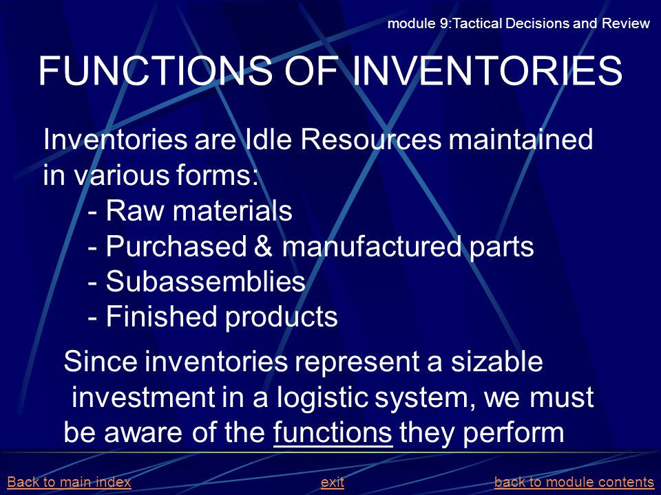 FUNCTIONS OF INVENTORIES Inventories are Idle Resources maintained in various forms: - Raw materials - Purchased & manufactured parts - Subassemblies