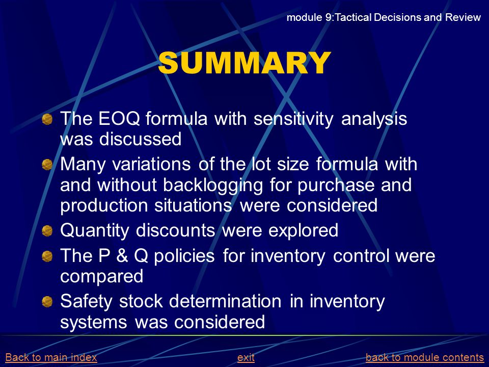 SUMMARY The EOQ formula with sensitivity analysis was discussed Many variations of the lot size formula with and without backlogging for purchase and