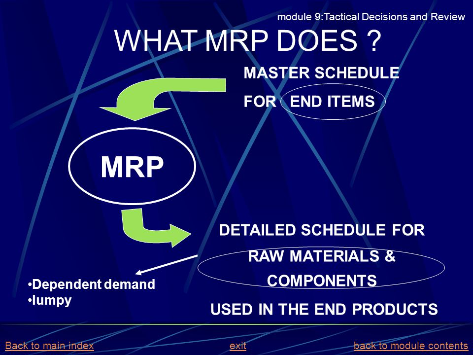 WHAT MRP DOES ? Dependent demand lumpy MRP DETAILED SCHEDULE FOR RAW MATERIALS & COMPONENTS USED IN THE END PRODUCTS MASTER SCHEDULE FOR END ITEMS mod