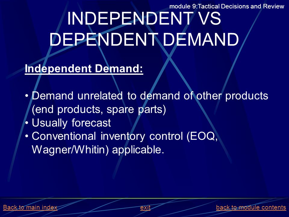 Independent Demand: Demand unrelated to demand of other products (end products, spare parts) Usually forecast Conventional inventory control (EOQ, Wag