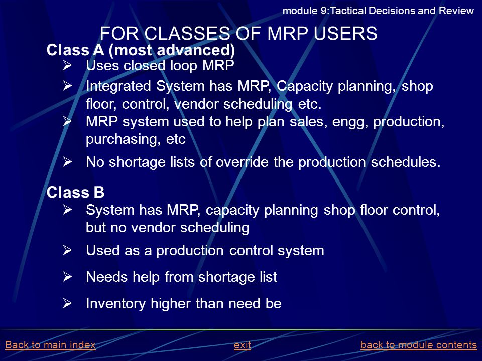 Uses closed loop MRP Integrated System has MRP, Capacity planning, shop floor, control, vendor scheduling etc. MRP system used to help plan sales, eng