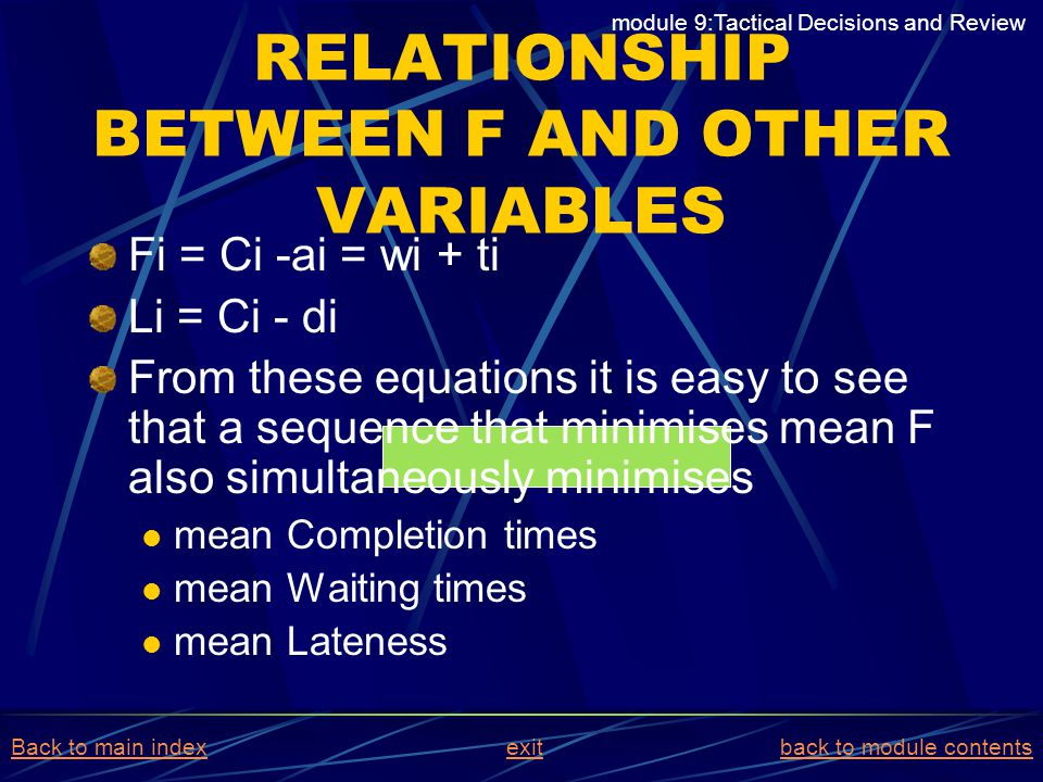 RELATIONSHIP BETWEEN F AND OTHER VARIABLES Fi = Ci -ai = wi + ti Li = Ci - di From these equations it is easy to see that a sequence that minimises me