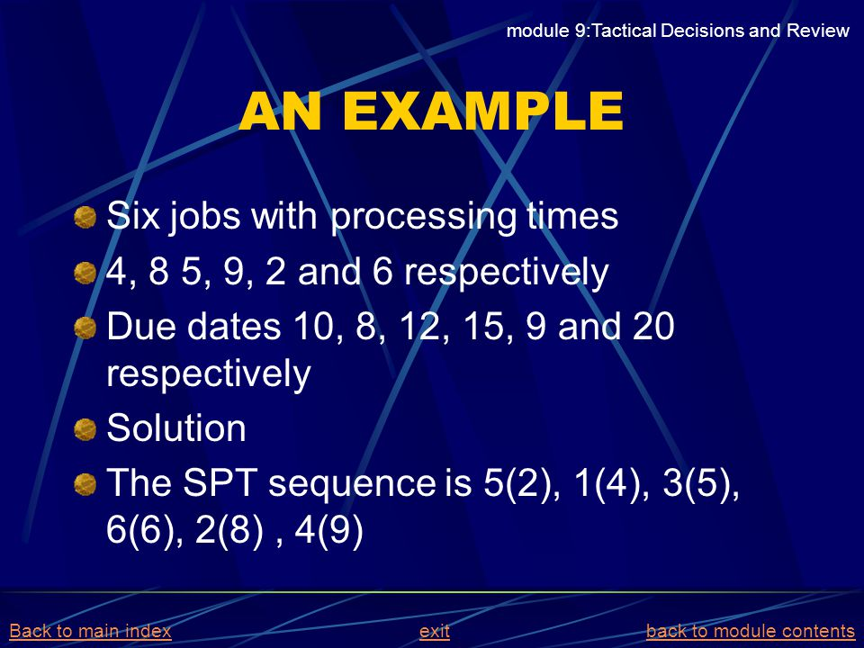 AN EXAMPLE Six jobs with processing times 4, 8 5, 9, 2 and 6 respectively Due dates 10, 8, 12, 15, 9 and 20 respectively Solution The SPT sequence is