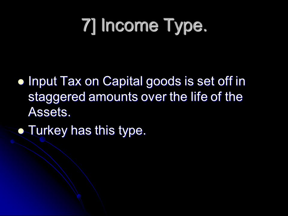 6] Production Type. Input tax on capital goods is not Refunded.