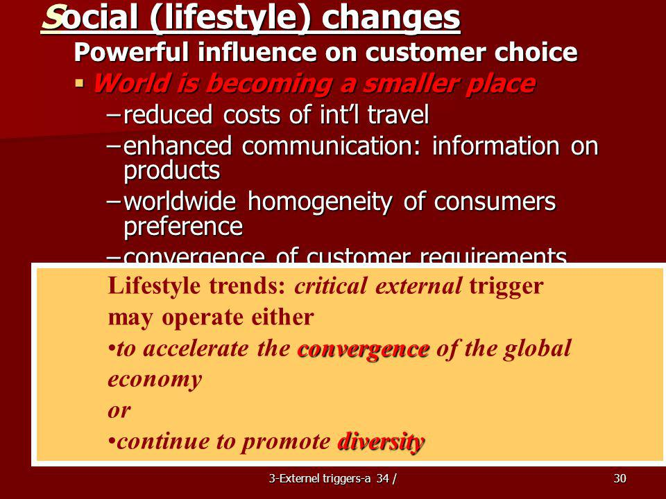 3-Externel triggers-a 34 /30 Social (lifestyle) changes Powerful influence on customer choice World is becoming a smaller place World is becoming a smaller place –reduced costs of intl travel –enhanced communication: information on products –worldwide homogeneity of consumers preference –convergence of customer requirements (cameras, jeans, soft drinks) Continuing diversity: opposite directions Continuing diversity: opposite directions –cultural and language identities –national states, separate groups: differences be recognized Lifestyle trends: critical external trigger may operate either convergenceto accelerate the convergence of the global economy or diversitycontinue to promote diversity
