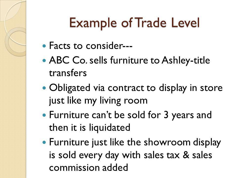 Example of Trade Level Facts to consider--- ABC Co.