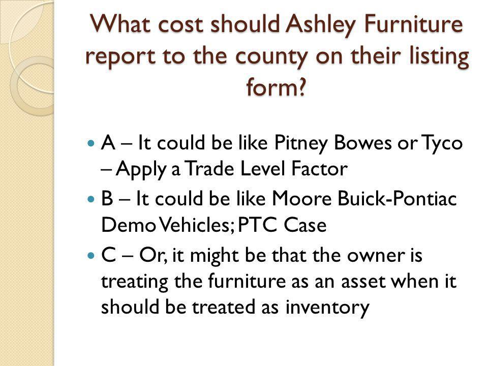 What cost should Ashley Furniture report to the county on their listing form.