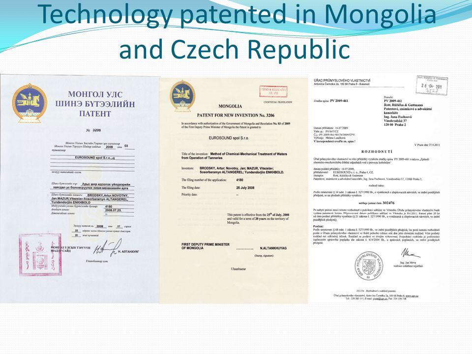 Technology patented in Mongolia and Czech Republic