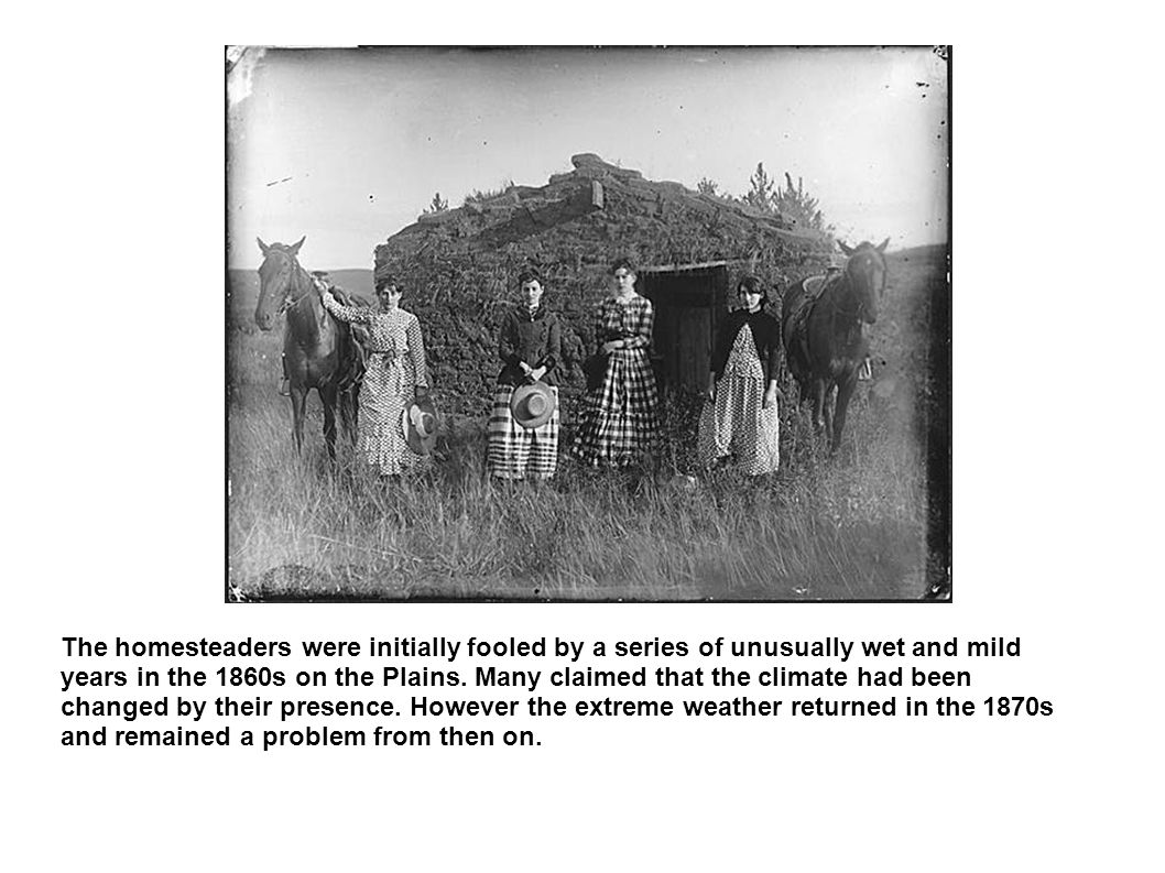 The homesteaders were initially fooled by a series of unusually wet and mild years in the 1860s on the Plains. Many claimed that the climate had been
