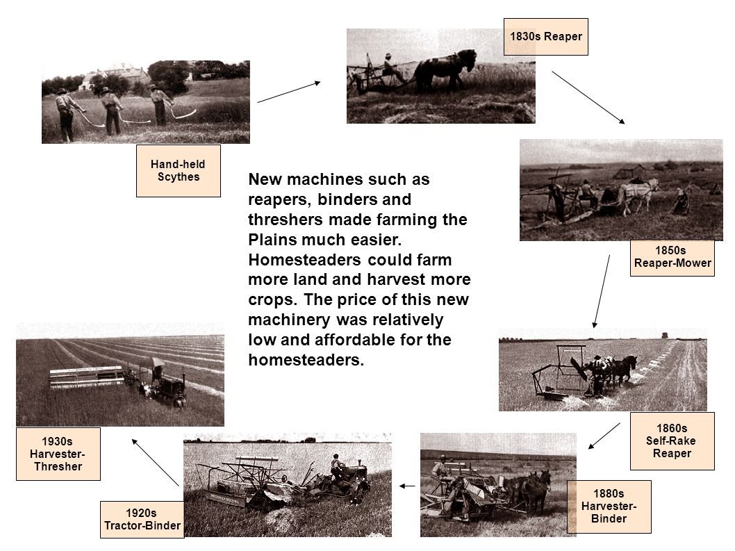 New machines such as reapers, binders and threshers made farming the Plains much easier. Homesteaders could farm more land and harvest more crops. The
