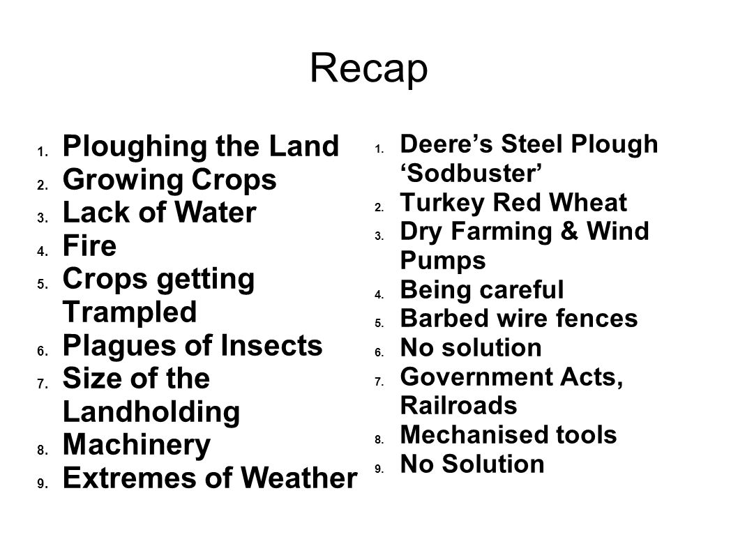 Recap 1. Ploughing the Land 2. Growing Crops 3. Lack of Water 4. Fire 5. Crops getting Trampled 6. Plagues of Insects 7. Size of the Landholding 8. Ma