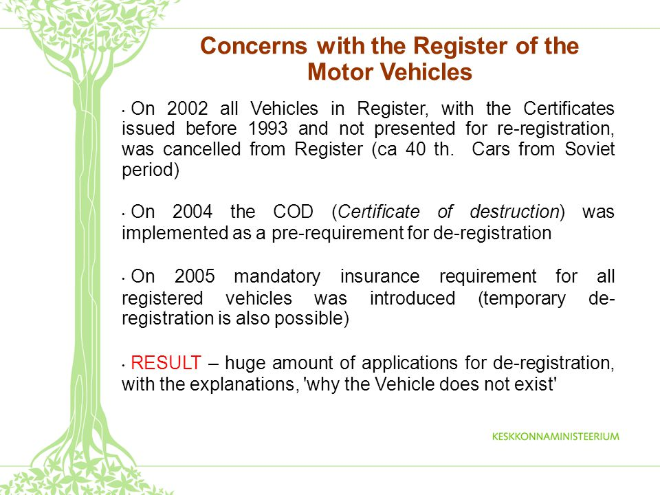 Concerns with the Register of the Motor Vehicles On 2002 all Vehicles in Register, with the Certificates issued before 1993 and not presented for re-registration, was cancelled from Register (ca 40 th.