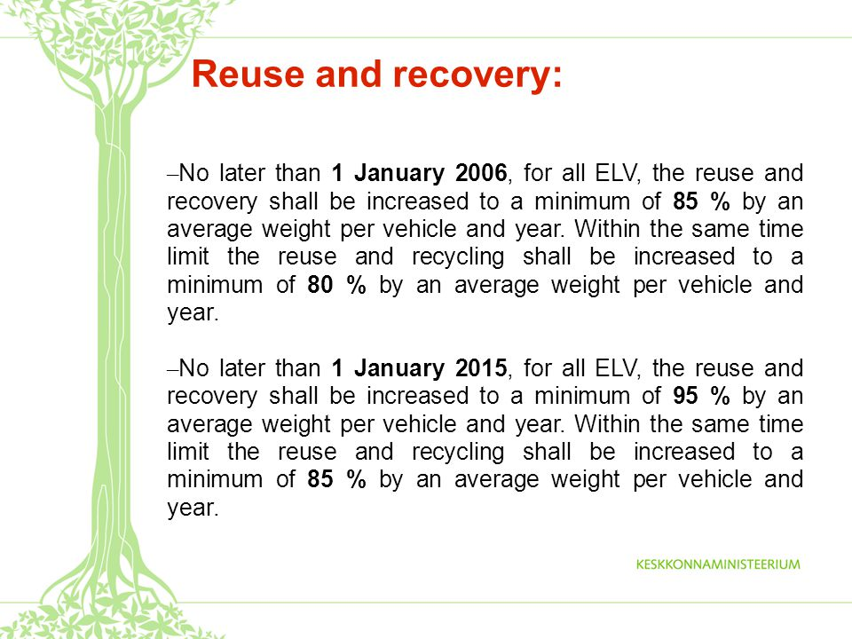 Reuse and recovery: – No later than 1 January 2006, for all ELV, the reuse and recovery shall be increased to a minimum of 85 % by an average weight per vehicle and year.