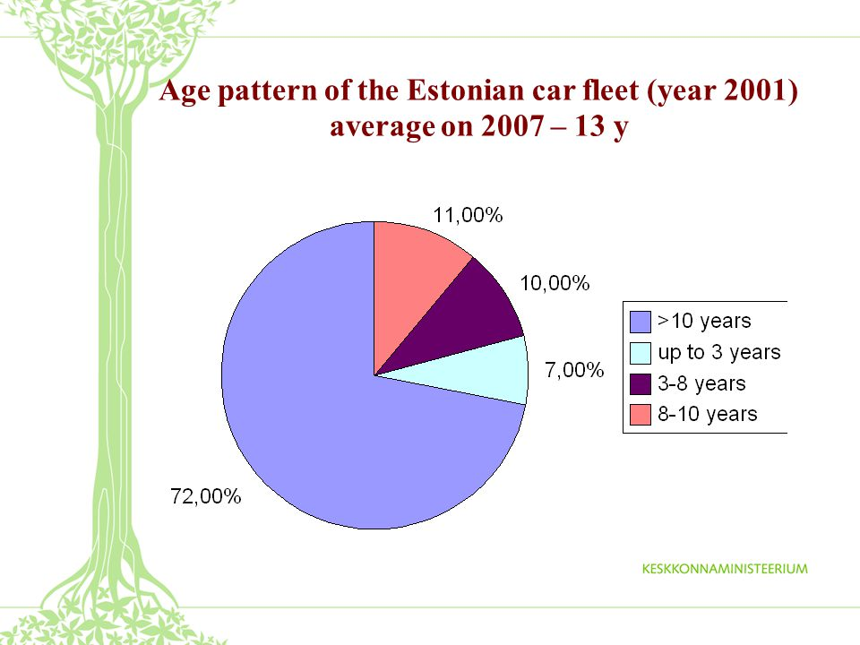Distribution of car producers within the Estonian car fleet (year 2001)