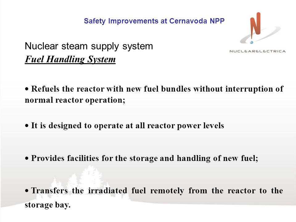Safety Improvements at Cernavoda NPP Nuclear steam supply system Fuel Handling System Refuels the reactor with new fuel bundles without interruption of normal reactor operation; It is designed to operate at all reactor power levels Provides facilities for the storage and handling of new fuel; Transfers the irradiated fuel remotely from the reactor to the storage bay.