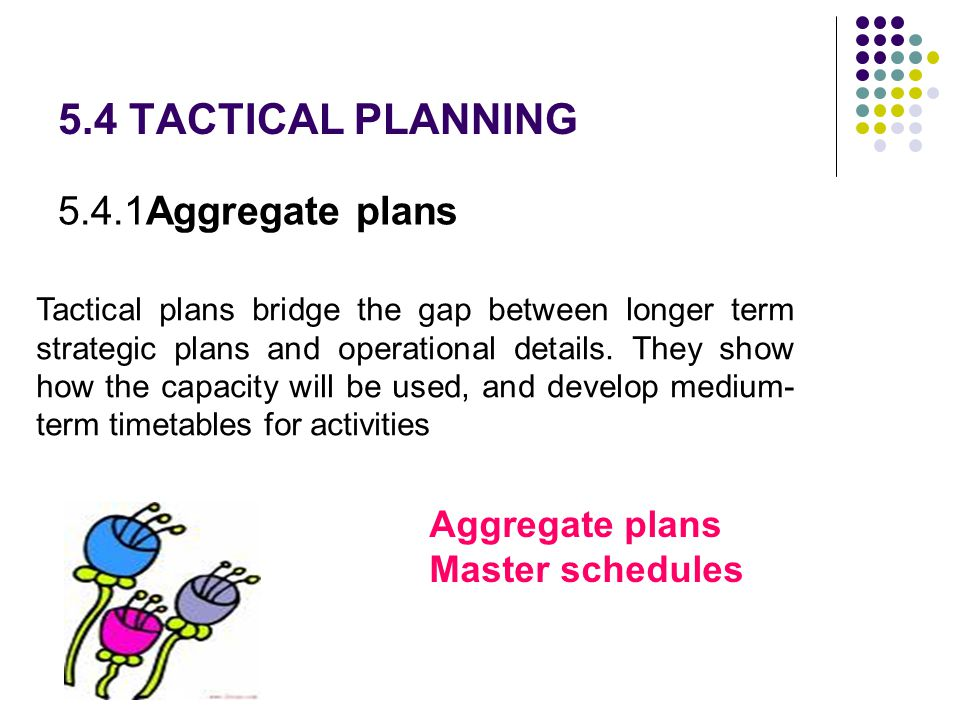 5.4 TACTICAL PLANNING 5.4.1Aggregate plans Tactical plans bridge the gap between longer term strategic plans and operational details. They show how th