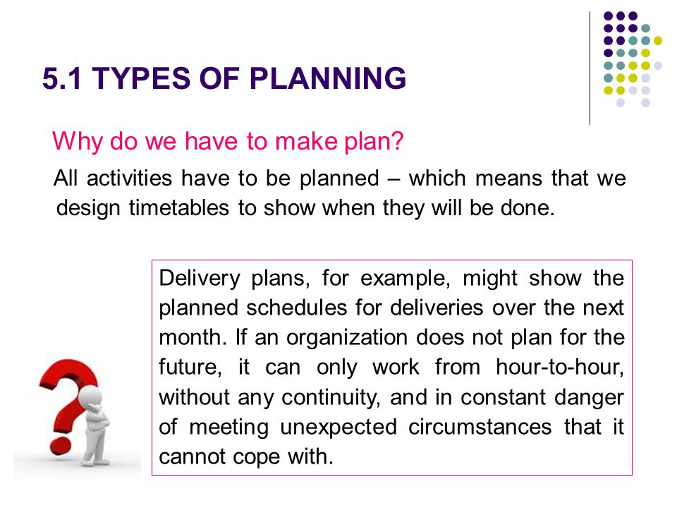 5.1 TYPES OF PLANNING Why do we have to make plan? All activities have to be planned – which means that we design timetables to show when they will be