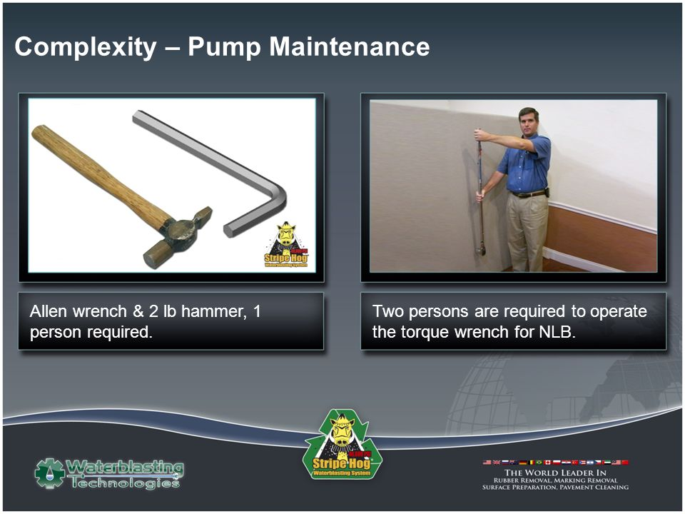 Allen wrench & 2 lb hammer, 1 person required. Two persons are required to operate the torque wrench for NLB. Complexity – Pump Maintenance