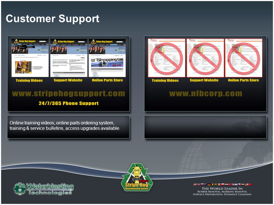 Customer Support Online training videos, online parts ordering system, training & service bulletins, access upgrades available.
