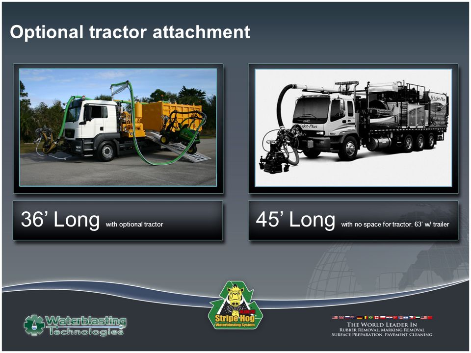 Optional tractor attachment 45 Long with no space for tractor. 63 w/ trailer 36 Long with optional tractor