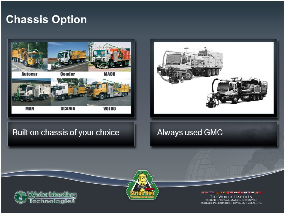 Chassis Option Always used GMCBuilt on chassis of your choice