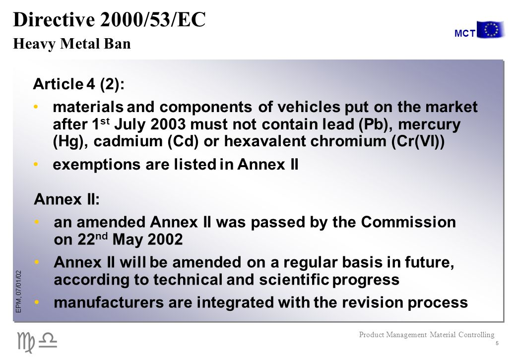 cd EPM, 07/01/02 Product Management Material Controlling MCT 5 Directive 2000/53/EC Heavy Metal Ban Article 4 (2): materials and components of vehicles put on the market after 1 st July 2003 must not contain lead (Pb), mercury (Hg), cadmium (Cd) or hexavalent chromium (Cr(VI)) exemptions are listed in Annex II Annex II: an amended Annex II was passed by the Commission on 22 nd May 2002 Annex II will be amended on a regular basis in future, according to technical and scientific progress manufacturers are integrated with the revision process