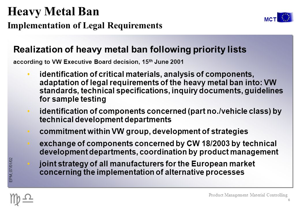 cd EPM, 07/01/02 Product Management Material Controlling MCT 6 Realization of heavy metal ban following priority lists according to VW Executive Board decision, 15 th June 2001 identification of critical materials, analysis of components, adaptation of legal requirements of the heavy metal ban into: VW standards, technical specifications, inquiry documents, guidelines for sample testing identification of components concerned (part no./vehicle class) by technical development departments commitment within VW group, development of strategies exchange of components concerned by CW 18/2003 by technical development departments, coordination by product management joint strategy of all manufacturers for the European market concerning the implementation of alternative processes Heavy Metal Ban Implementation of Legal Requirements