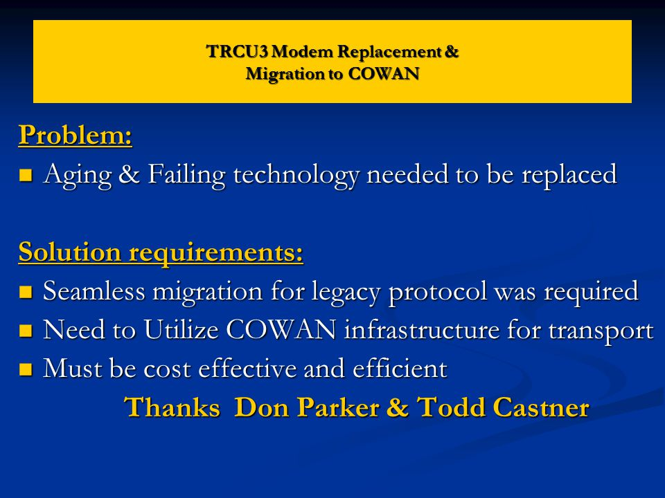 COWAN Network TRCU3 Applied Innovations Switch End User *TRCU – Transmission Rate Converter Unit RAD Modem RAD Modem DB25 RS-232 X.25 Link Back-To-Back modems allow for transport of X.25 circuits to Applied Innovations switch (Provided isolated ground plane protection) TRCU3 Modem Replacement