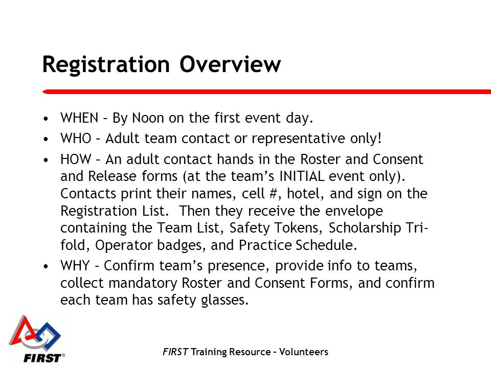 FIRST Training Resource – Volunteers Registration Overview WHEN – By Noon on the first event day.