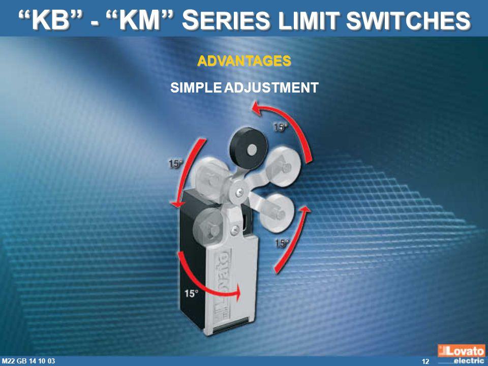 12 M22 GB 14 10 03 KB - KM S ERIES LIMIT SWITCHES SIMPLE ADJUSTMENT ADVANTAGES