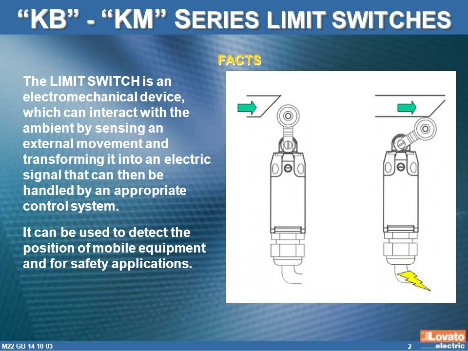 13 M22 GB 14 10 03 VERY SIMPLE WIRING KB - KM S ERIES LIMIT SWITCHES Removable auxiliary contact block for quick and easy wiring ADVANTAGES Cable entry in lower contacts is indirect so the user must bend cables.
