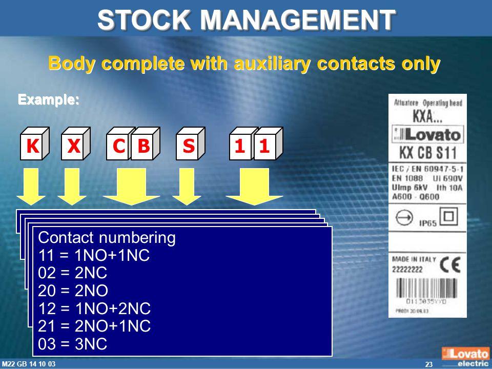 23 M22 GB 14 10 03 KXCBS11 Limit switch, K series, EN 50047 standard X = Accessorial identification Type of body CB = Plastic housing CM = metal housi